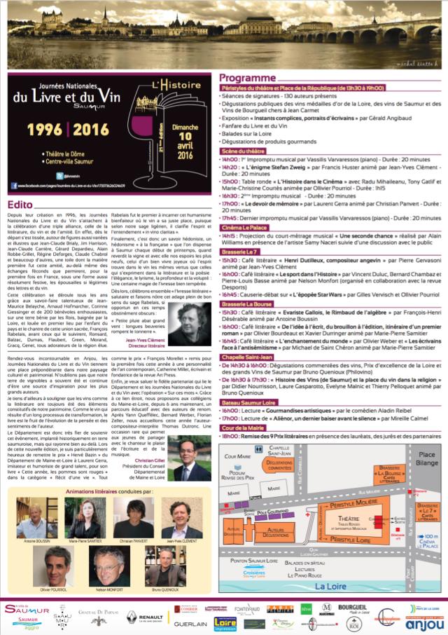 Programme Livre et Vin Saumur 2016